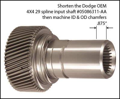 Shorten OE Input Shaft